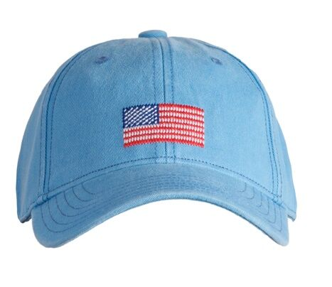 Harding Lane Kids Hat - American Flag on Light Blue
