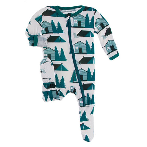 Kickee Pants Print Footie with Zipper - Natural Cabins and Tents