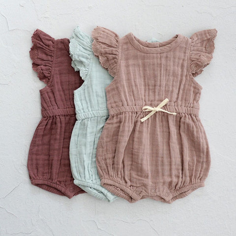City Mouse Muslin Waist Tie Romper - Dusty Mauve - Let Them Be Little, A Baby & Children's Boutique