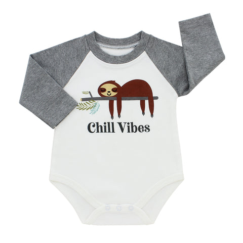 Emerson & Friends Long Sleeve Baseball Style Onesie - Sloth