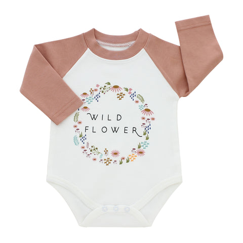 Emerson & Friends Long Sleeve Baseball Style Onesie - Wildflower