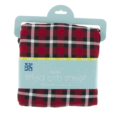 Kickee Pants Print Fitted Crib Sheet - Crimson 2020 Holiday Plaid