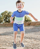 RuggedButts Color Block Henley Short Sleeve Tee - Blue & Neo Mint - Let Them Be Little, A Baby & Children's Boutique
