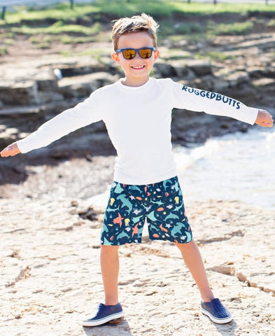 RuggedButts Long Sleeve Rash Guard - White - Let Them Be Little, A Baby & Children's Boutique