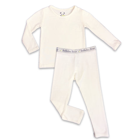 Bellabu Bear 2 piece PJ Set - Milk White w/ Grey Trim