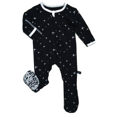 Peregrine Signature Footed Sleeper - Black Stars - Let Them Be Little, A Baby & Children's Boutique
