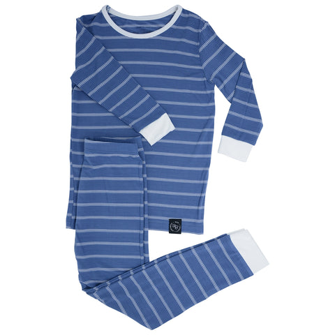 Sweet Bamboo Long Sleeve PJ' Set  -  Blue Pinstripe