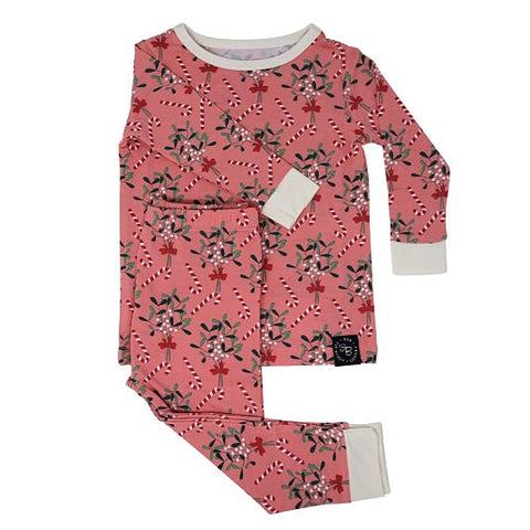 Sweet Bamboo Holiday 2 Piece PJ Set - Mistletoe Pink - Let Them Be Little, A Baby & Children's Boutique