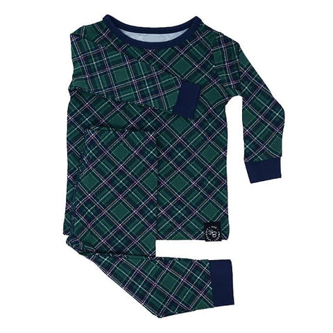 Sweet Bamboo Holiday 2 Piece PJ Set - Green Plaid