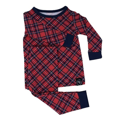Sweet Bamboo Holiday 2 Piece PJ Set - Red Plaid