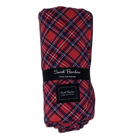 Sweet Bamboo Holiday Big Kid Blanket - Plaid Red