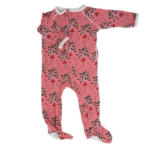 Sweet Bamboo Holiday Zipper Footie - Mistletoe Pink - Let Them Be Little, A Baby & Children's Boutique