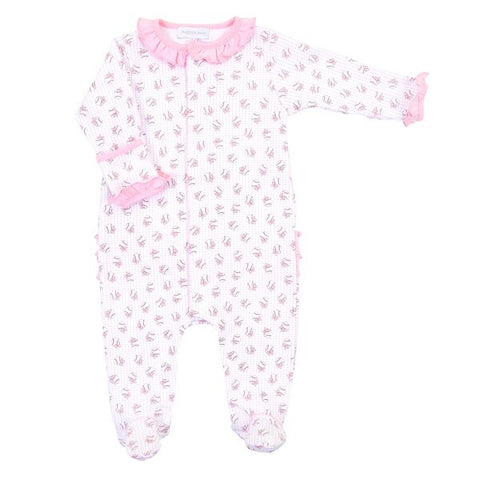 Magnolia Baby Printed Ruffle Footie - Love Baseball Pink