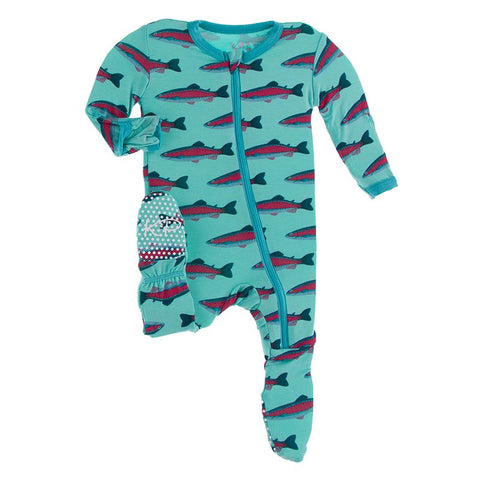Kickee Pants Print Footie with Zipper - Glass Rainbow Trout