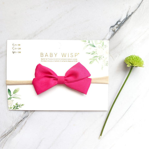 Baby Wisp Emma Bow Infant Headbands  - Raspberry - Let Them Be Little, A Baby & Children's Boutique
