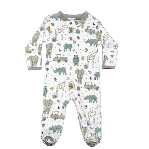 Baby Noomie Zipper Footie - Safari