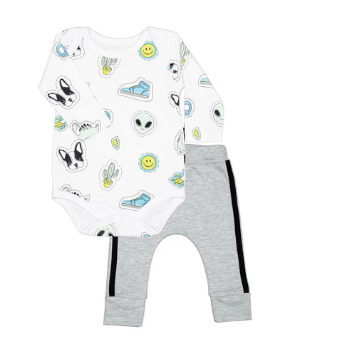 Baby Noomie Onesie & Pants Set - Blue Patches