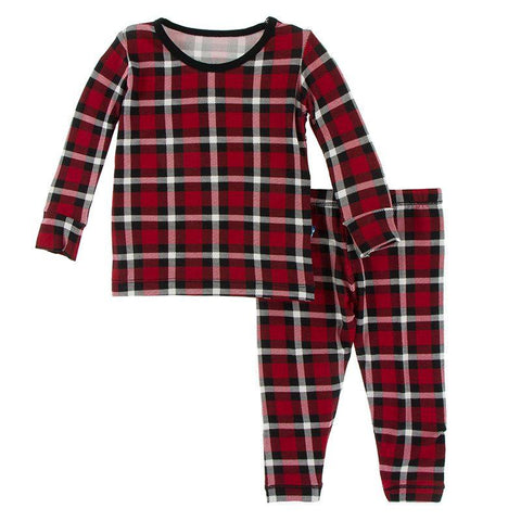 Kickee Pants Printed Long Sleeve PJ Set - Crimson 2020 Holiday Plaid