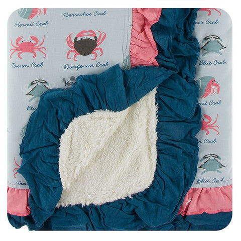 Kickee Pants Print Sherpa-Lined Double Ruffle Stroller Blanket - Dew Crab Types