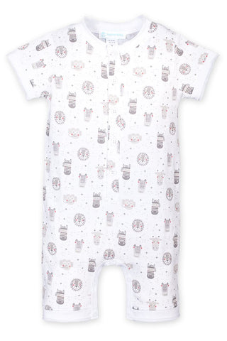 Feather Baby Henley Romper - Safari on White