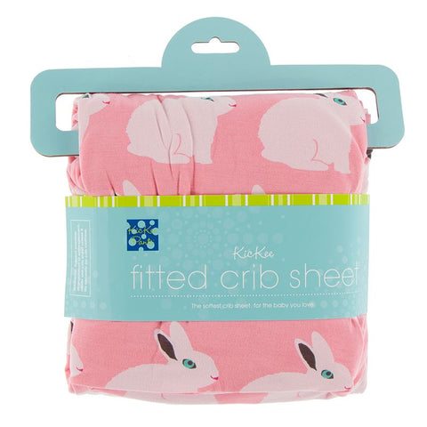 Kickee Pants Print Fitted Crib Sheet - Strawberry Forest Rabbit