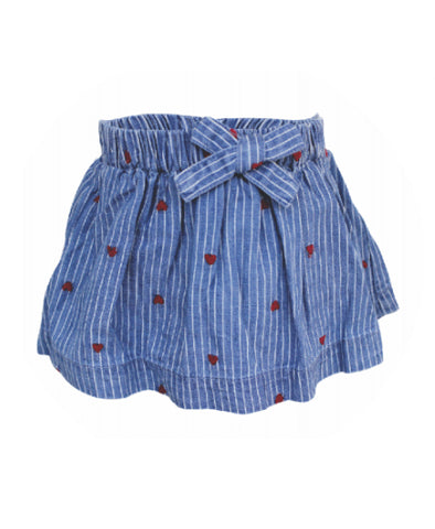 Blu & Blue Itsy Stripe Heart Denim Skirt