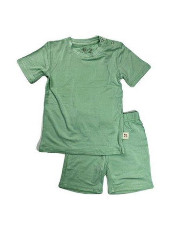 Kozi & Co Short Sleeve PJ Set w/ Shorts - Grasshopper Green