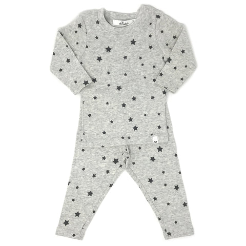 Oh Baby! Two Piece Set - All Over Stars Oatmeal Heather