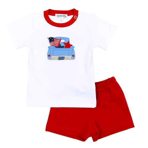 Magnolia Baby Applique Shorts Set - Stars & Stripes - Let Them Be Little, A Baby & Children's Clothing Boutique