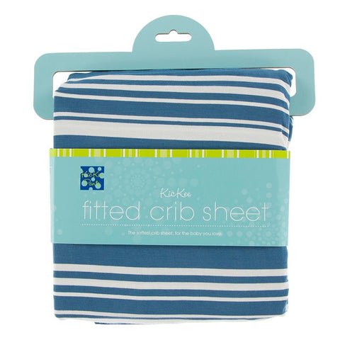 Kickee Pants Print Fitted Crib Sheet - Fishing Stripe