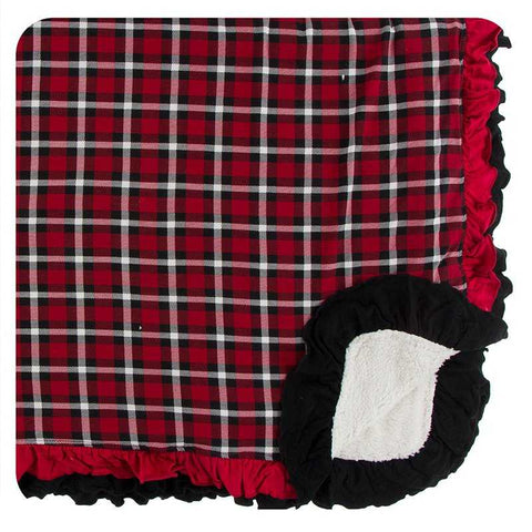 Kickee Pants Print Sherpa-Lined Double Ruffle Toddler Blanket - Crimson 2020 Holiday Plaid