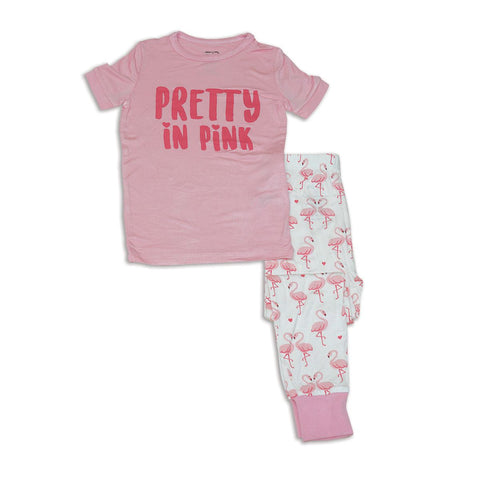 Silkberry Baby Bamboo Short Sleeve Pajama Set - Flamingo Love