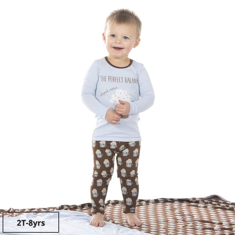 Kickee Pants Graphic Long Sleeve PJ Set - Hot Cocoa