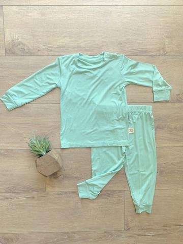 Kozi & Co Essentials Long Sleeve PJ Set - Grasshopper Green