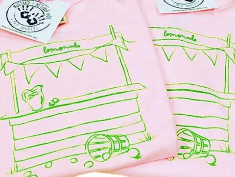 Mustard & Ketchup Kids Short Sleeve Tee - Light Pink Lemonade Stand