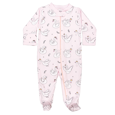 Baby Noomie Zipper Footie - Swan - Let Them Be Little, A Baby & Children's Clothing Boutique
