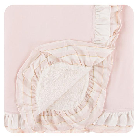 Kickee Pants Sherpa-Lined Double Ruffle Stroller Blanket - Macaroon w/ Everyday Heroes Sweet Stripe