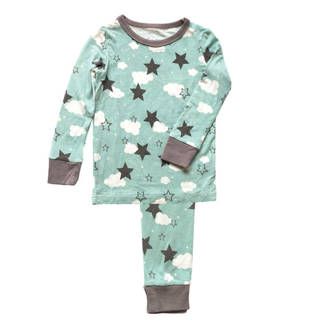 Silkberry Baby Bamboo Pajama Set - Shady Mint Star