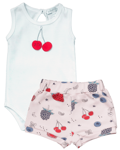 Baby Noomie Onesie & Shorts set - Berries