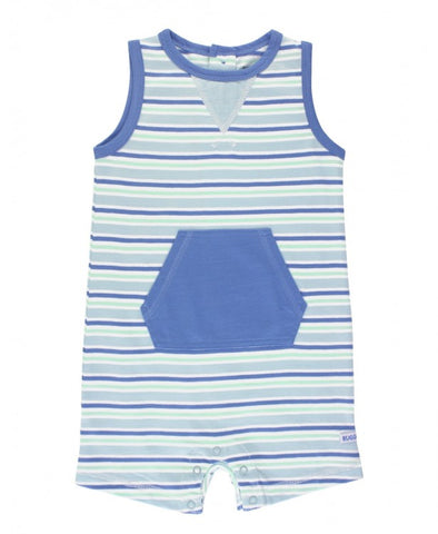 RuggedButts Sleeveless Stripe Romper - Blue & Neo Mint