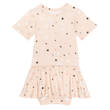 Posh Peanut Short Sleeve Twirl Skirt Bodysuit - Stars