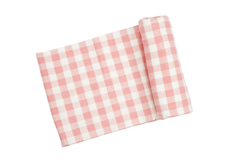 Angel Dear Bamboo Swaddle Blanket - Gingham Pink