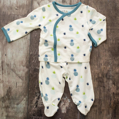 Bestaroo Infant Kimono Set - Pineapple Blue