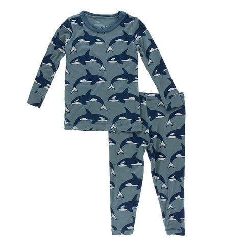 KicKee Pants Print Long Sleeve Pajama Set – Dusty Sky Orcas - Let Them Be Little, A Baby & Children's Boutique