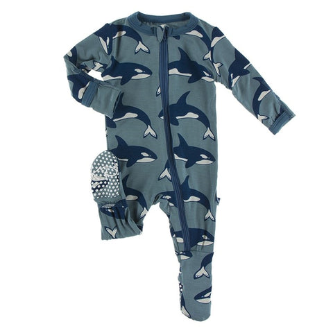 Kickee Pants Print Footie with Zipper - Dusty Sky Orcas - Let Them Be Little, A Baby & Children's Boutique