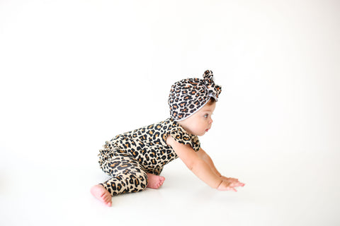 Posh Peanut Ruffled Cap Sleeve Romper - Lana Leopard - Let Them Be Little, A Baby & Children's Boutique