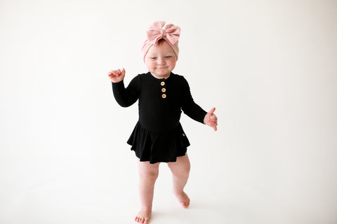 Posh Peanut Long Sleeve Henley Twirl Skirt Bodysuit - Black Ribbed - Let Them Be Little, A Baby & Children's Boutique
