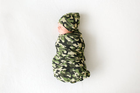 Posh Peanut Infant Swaddle & Beanie Set - Cadet - Let Them Be Little, A Baby & Children's Boutique
