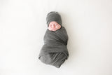 Posh Peanut Infant Swaddle & Beanie Set - Charcoal Heather