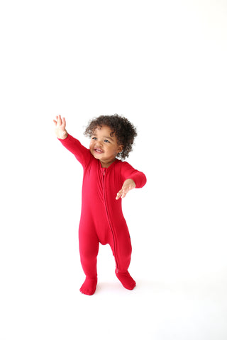 Posh Peanut Zipper Footie - Crimson Ribbed
